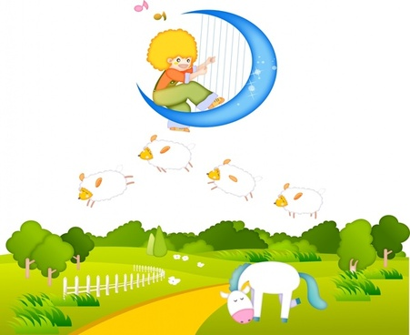 dreaming background playful kid moon farm icons