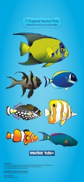 vector cute cartoon sea creatures fish