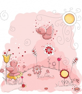 chicks painting cute cartoon sketch handdrawn design