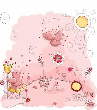chicks painting cute cartoon sketch handdrawn design