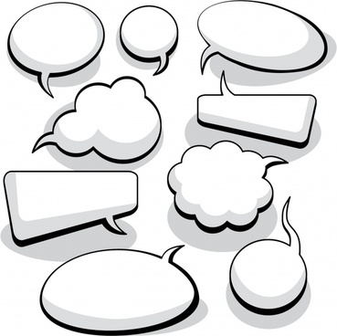 speech bubbles templates black white flat plain shapes
