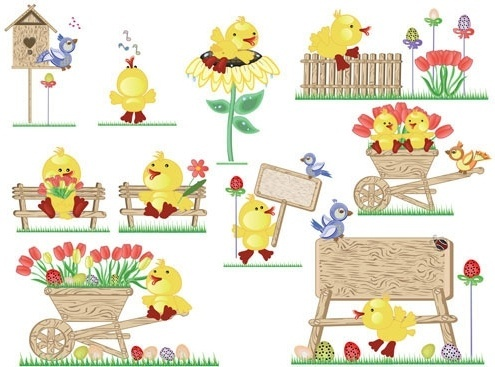 vector cute easter egg chicks