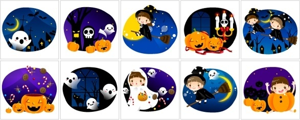 vector cute halloween scene