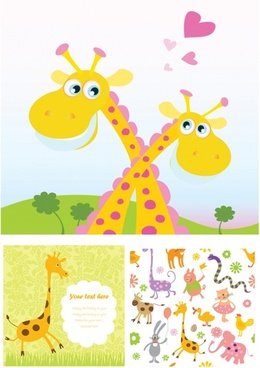 vector cute handpainted animals