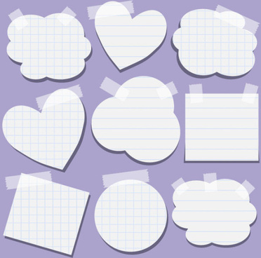 vector cute message paper elements