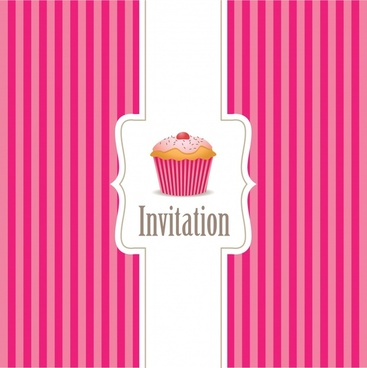 birthday card cover template pink stripes cupcake decor