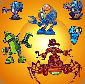 robotic icons collection 3d colorful design style