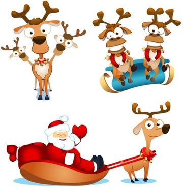 vector cute santa claus elk and