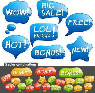 sales tags templates colored flat speech bubble shapes