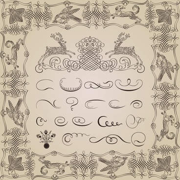 documents decorated vignettes elements classical handdrawn animals sketch