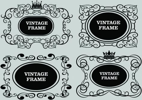 vector decorative vintage frames set
