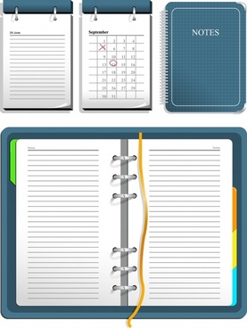 notebook icons colored realistic design