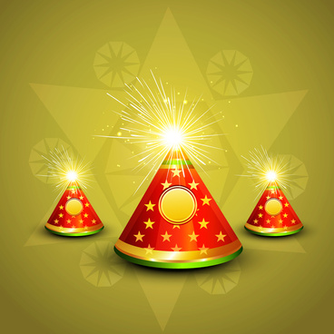 vector diwali shiny crackers indian festival colorful background