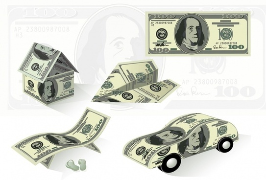properties icons dollar icons house airplane car shapes