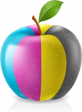 vector drawing apples sprayed with color pigments
