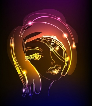 handdrawn woman portrait icon sparkling light effect decor