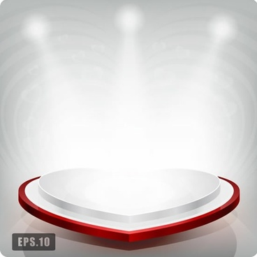 heart stage template heart shape modern bright light