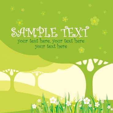 nature card template flat green tree floral decor