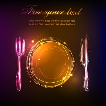 restaurant menu background shiny light effect tablewares icons