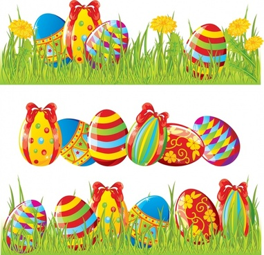 easter banner templates colorful modern eggs grass decor