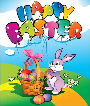 easter banner cute cartoon colorful bunny eggs design