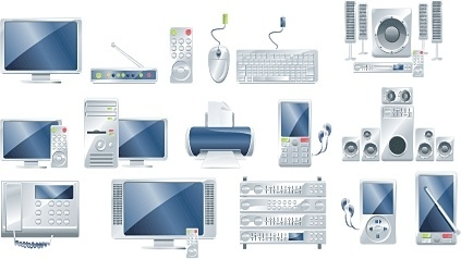 electronic products icons collection realistic shiny silver design