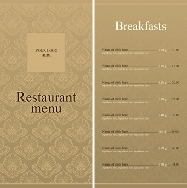 menu background template classical brown decor