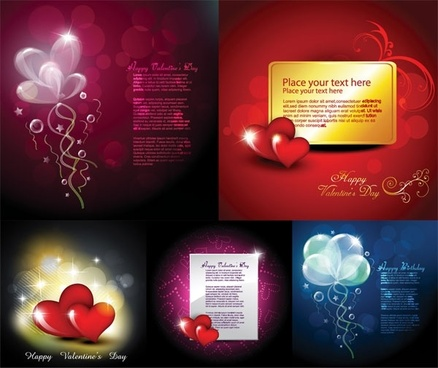 vector elements of romantic love cards