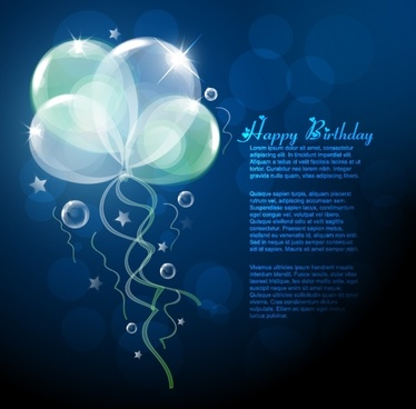 birthday banner sparkling transparent balloon dark bokeh decor