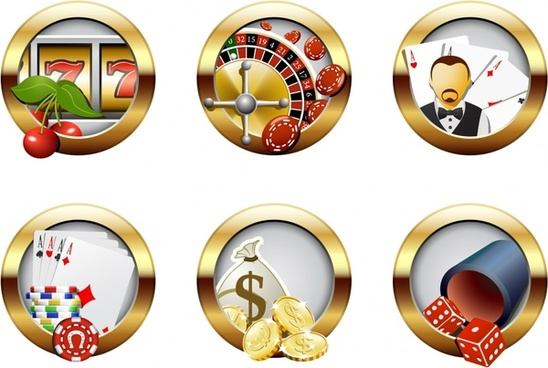 gambling design elements shiny golden circles decor
