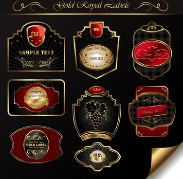 royal labels templates elegant luxury dark european decor