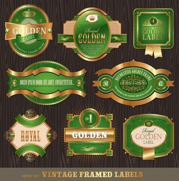 premier label templates shiny luxury golden green decor