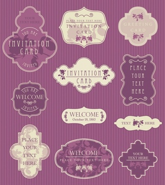 invitation card labels elements elegant vintage symmetric decor