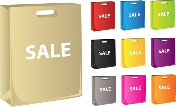 sale bag template colored modern 3d design
