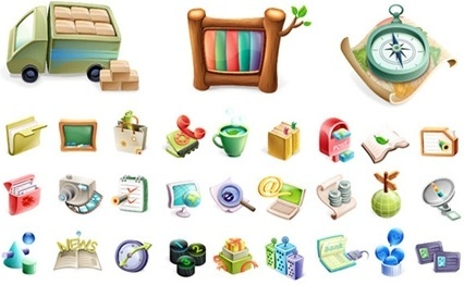various colorful 3d icons collection