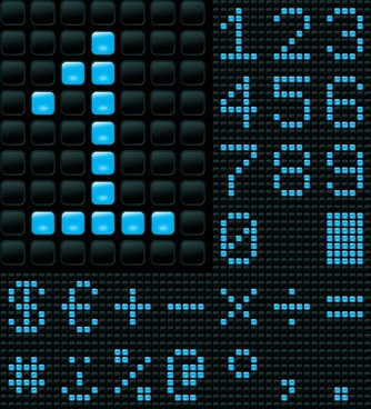 digits signboard background modern black blue pixels decor