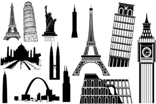 vector famous buildings