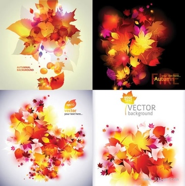 autumn background templates colorful leaves ornament modern design