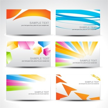 card templates bright colorful modern dynamic design