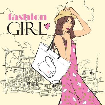 female fashion banner elegant young girl handdrawn sketch