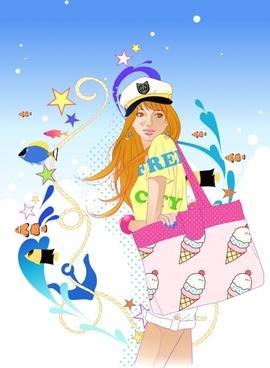 lady beach fashion background modern colorful dynamic decor