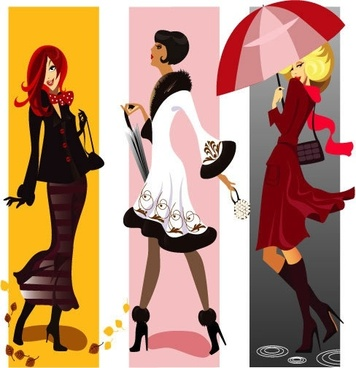 fashion woman icons colored cartoon characters