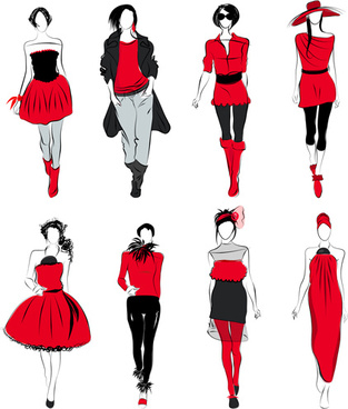 vector fashion girls design elements