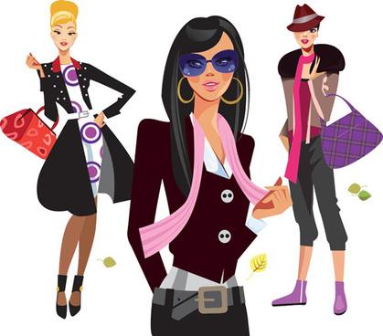vector fashion girls design elements set
