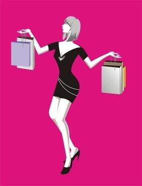 vector fashion woman shopping