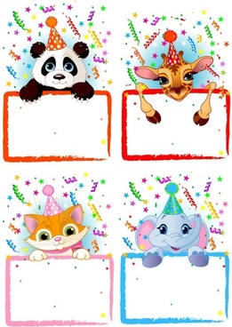 vector festive bulletin board animals