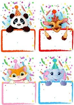 vector festive bulletin board animals