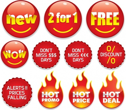sale label templates modern shiny red shapes