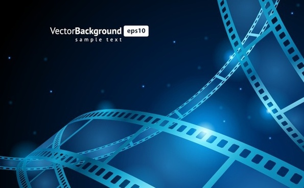 filmstrip background 3d blue curves decor