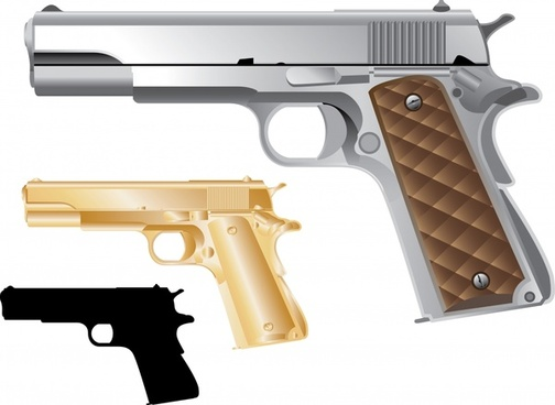 pistol icons shiny colored modern sketch